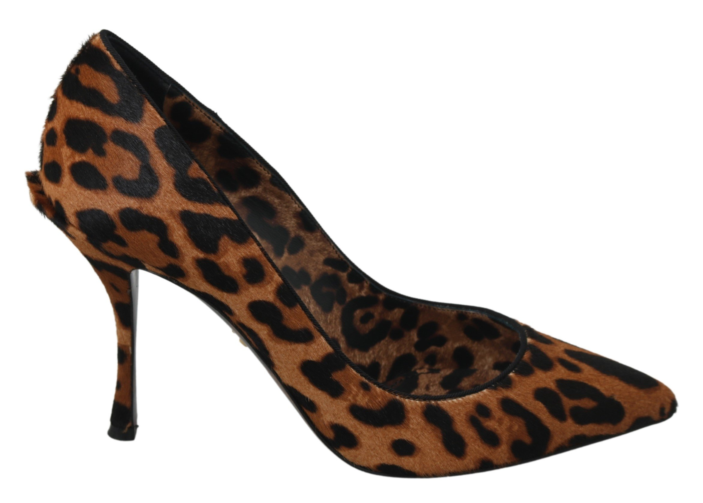 Dolce & Gabbana Women's Leopard Leather Pony Hair Pumps Brown LA6968 - EU39/US8.5