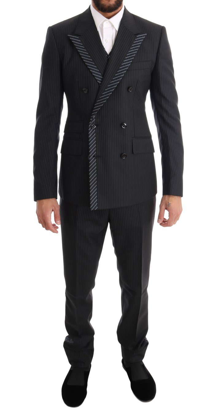 Dolce & Gabbana Men's Double Breasted 3 Piece Suit Gray KOS1063 - IT44 | XS