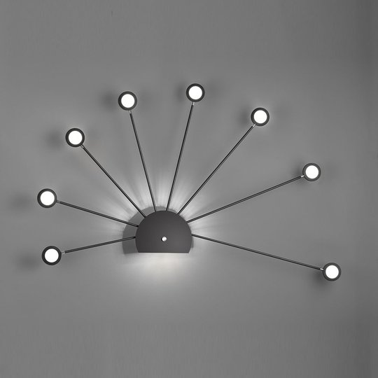 LED-vegglampe Peacock, 9 lyskilder, svart