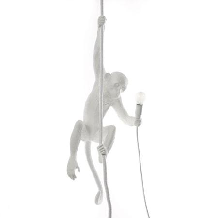 Monkey Lamp med Rep Vit