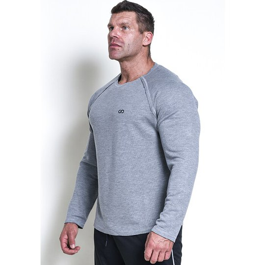 Chained L/S Thermal Sweat, Light Grey Melange