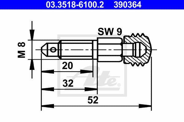 Huohottimen pultti / venttiili ATE 03.3518-6100.2