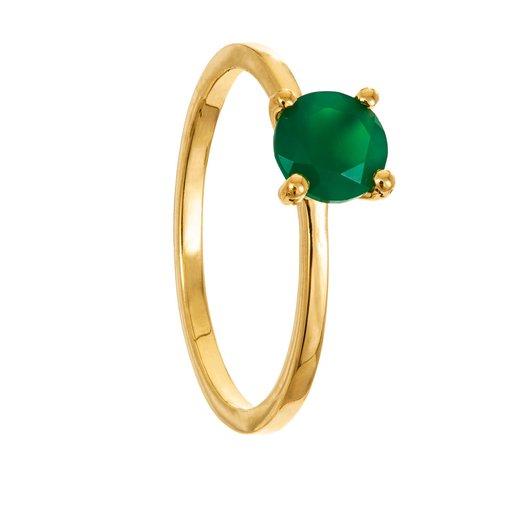 Ring i förgyllt äkta silver med grön agat., 18.0