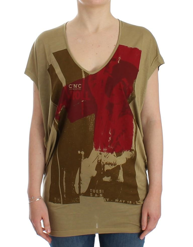 Costume National Women's print SS Top Green SIG12534 - XS