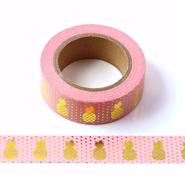 Gold Pineapple Pink Washi Tape