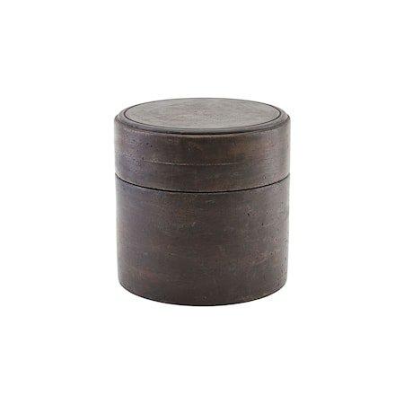Oppbevaringseske med Lokk Mørkebrun Ø18 cm