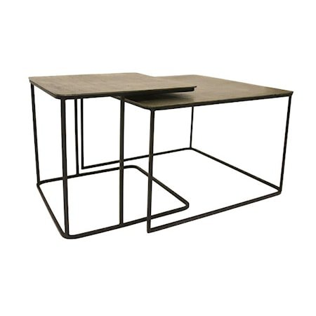 Sofabord sett med 2 Metall/Messing 62x62x41cm - 46x46x45cm