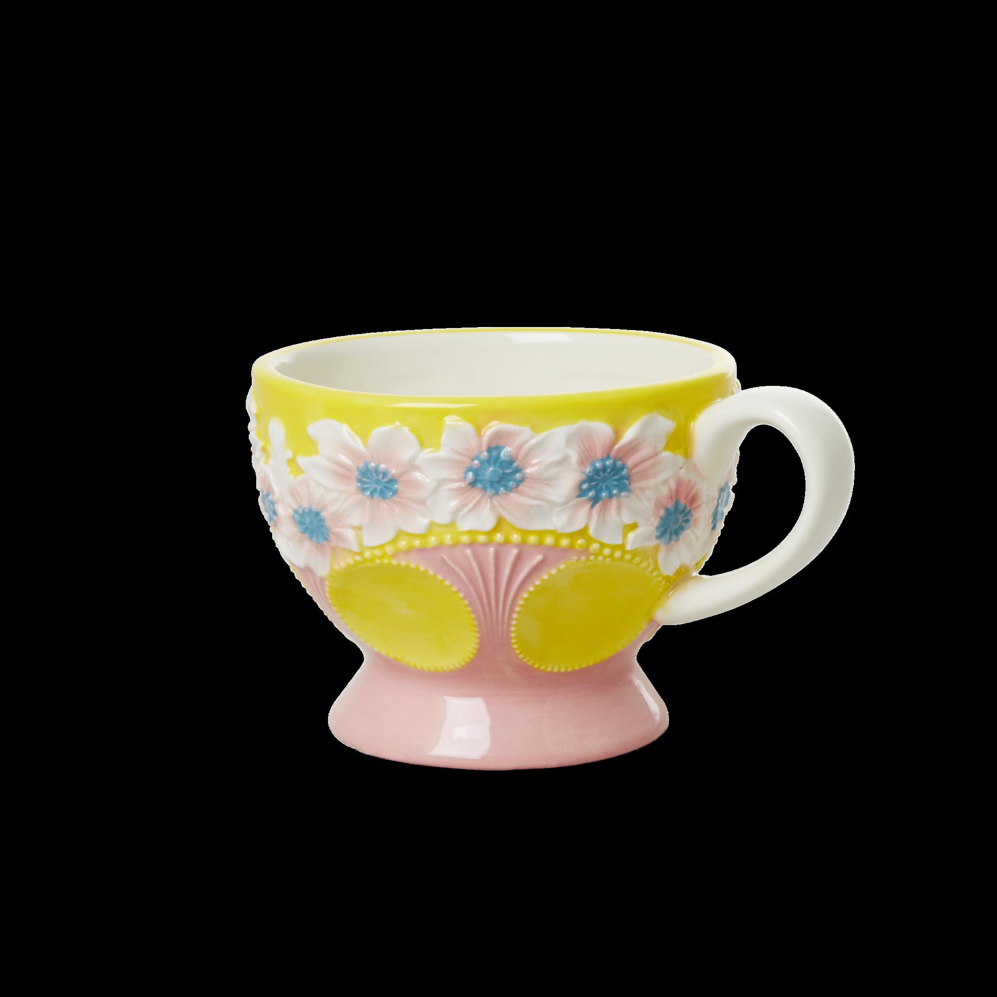 Rice - Ceramic Mug - Embossed Yellow Flower Design