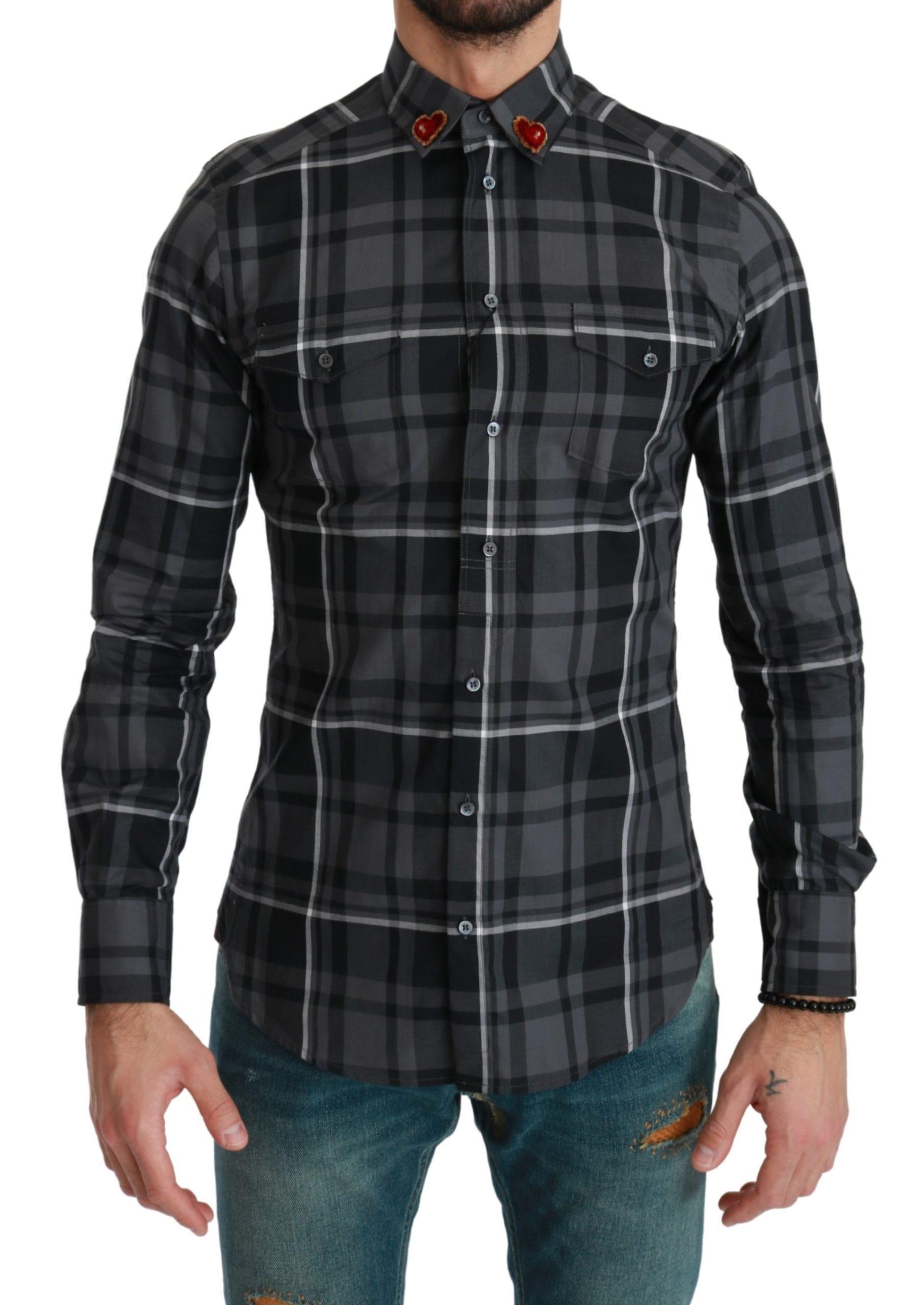 Dolce & Gabbana Men's Plaid Casual MARTINI Shirt Gray TSH4624 - IT37 | XS