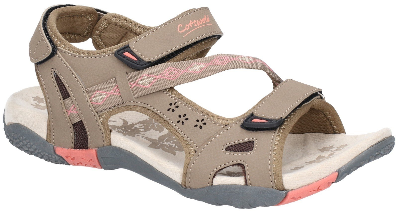 Cotswold Women's Whichford Touch Fasten Sandal Various Colours 28233 - Taupe/Pink 3