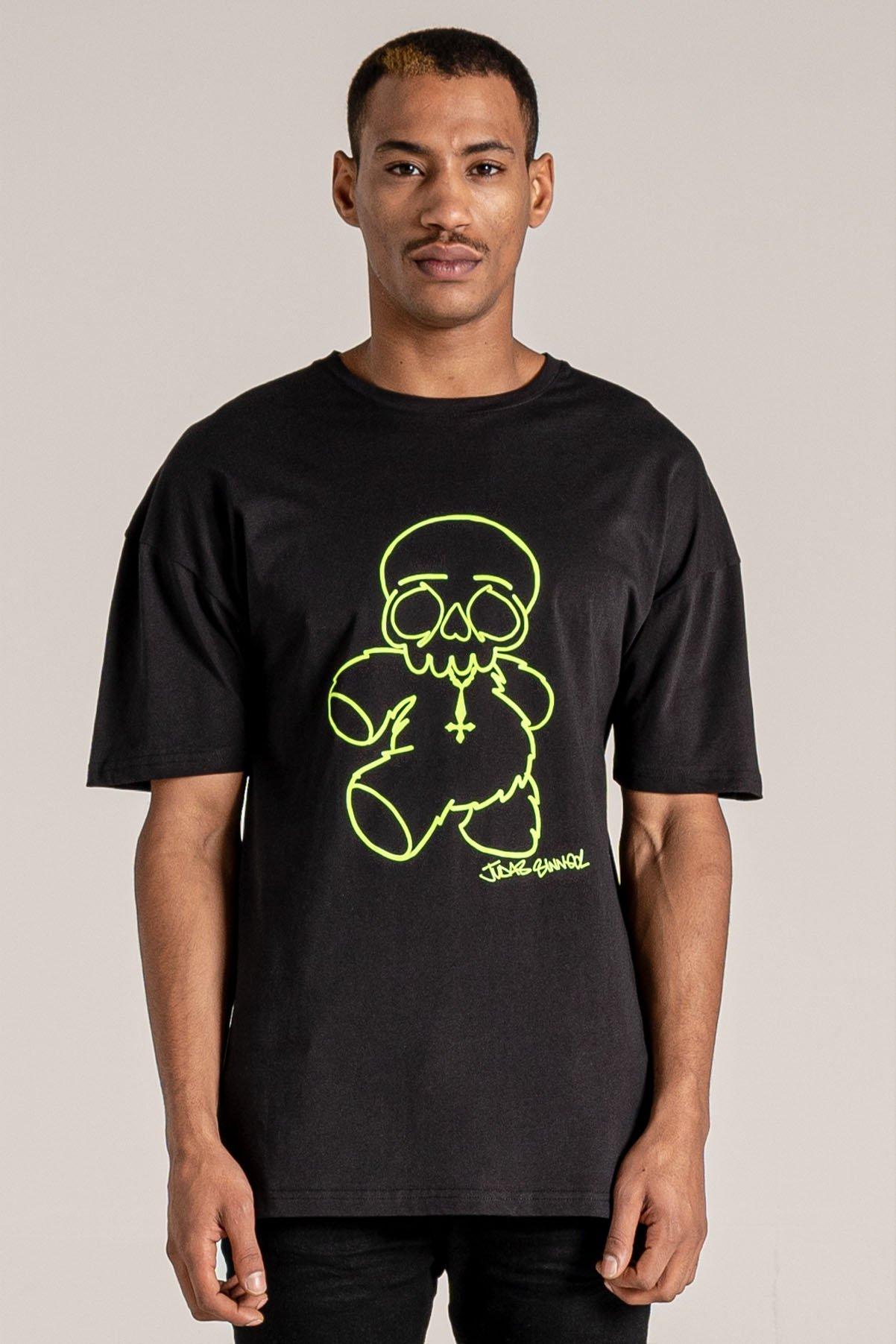 Original Sin Bear Print Men's T-Shirt - Fluorescent, XX-Large