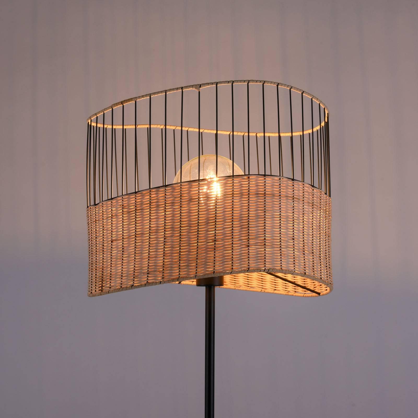 Reed bordlampe av tre og metall