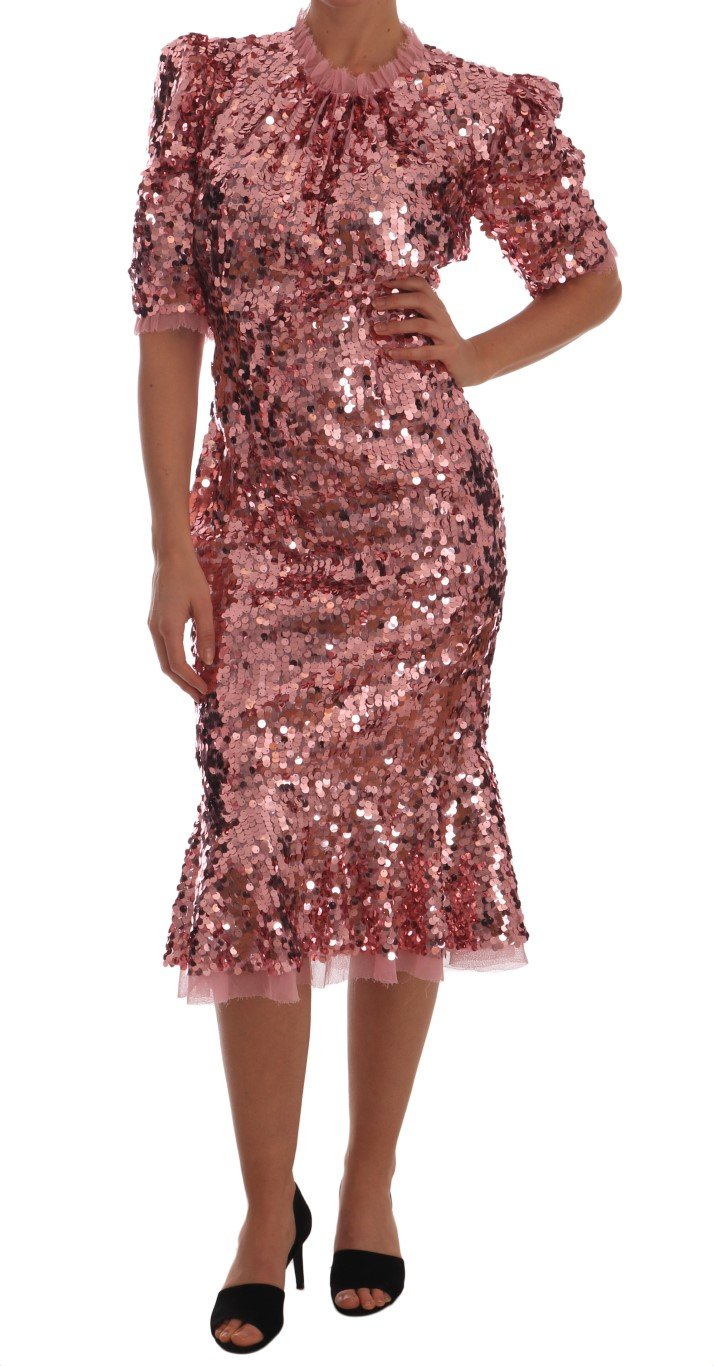 Dolce & Gabbana Women's Sequined Sheath Knee Gown Pink DR1408 - IT48 | XL