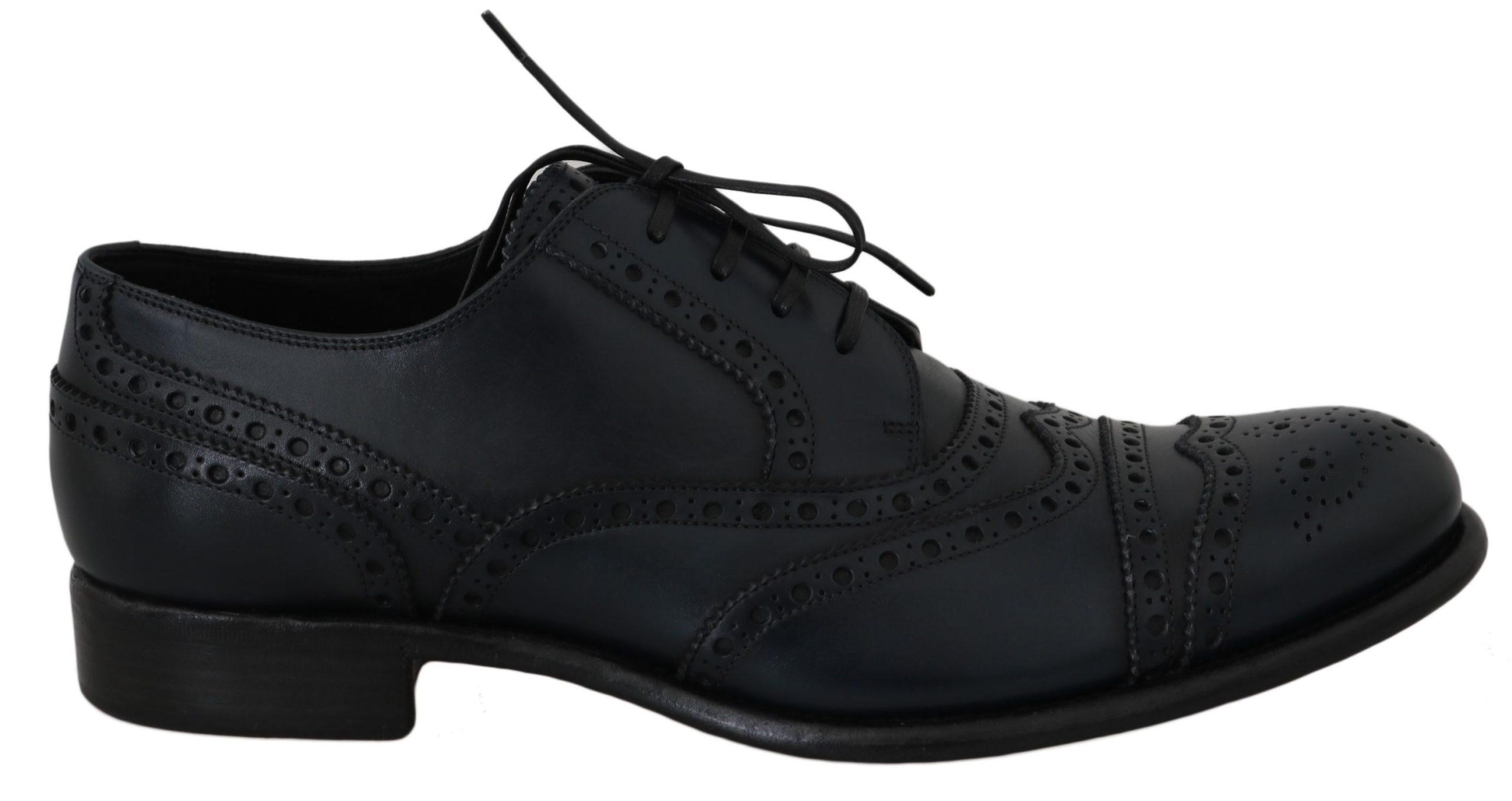 Dolce & Gabbana Men's Leather Wingtip Oxford Shoes Blue MV2362 - EU39/US6