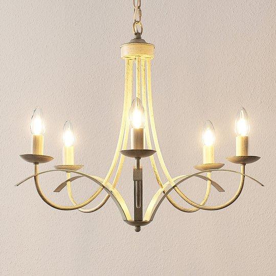 Lindby Amonja -kattokruunu, 5-lamp., valkoinen