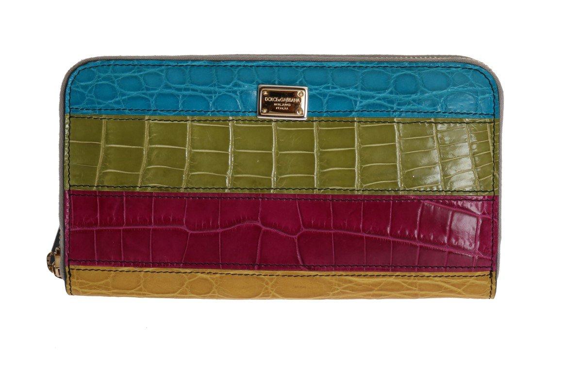 Dolce & Gabbana Women's Alligator Caiman Leather Continental Wallet Multicolor VAS1227