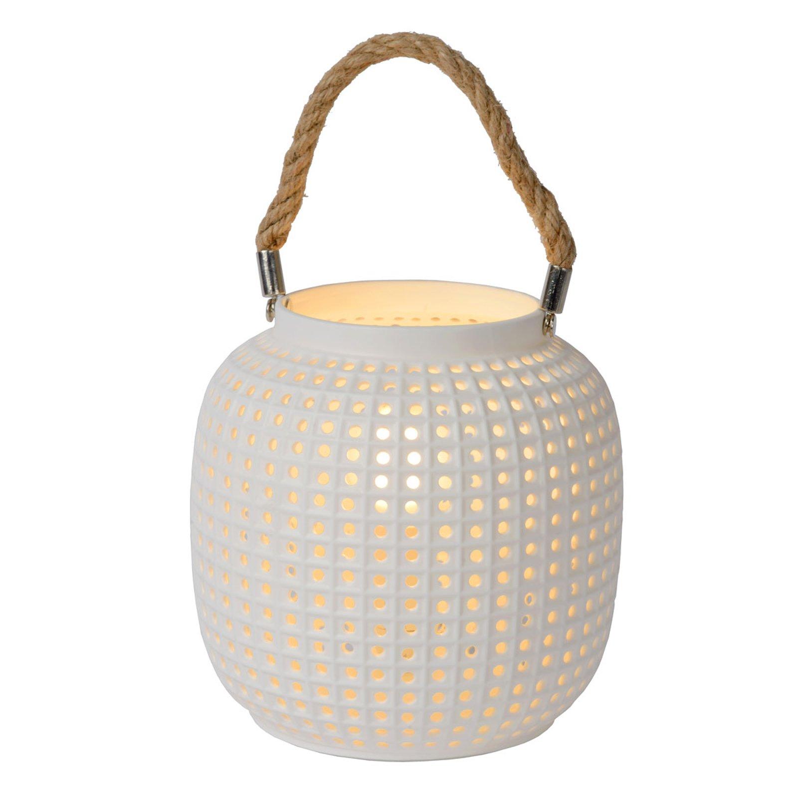 Safiya bordlampe av porselen, hvit