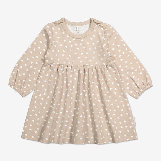 Kjole med hjertetrykk baby beige