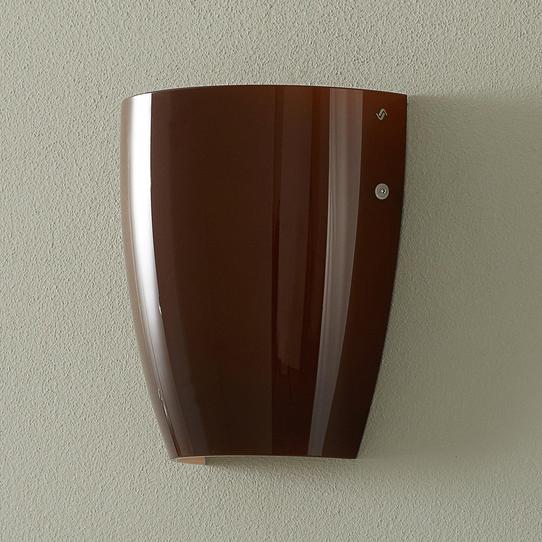 Vegglampe Dafne av glass glossy tobakk
