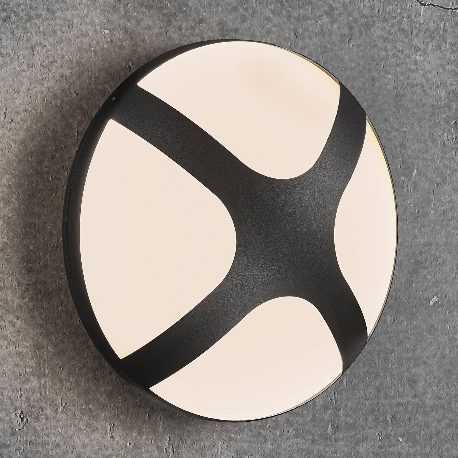 Ulkoseinälamppu Cross, musta, Ø 26 cm
