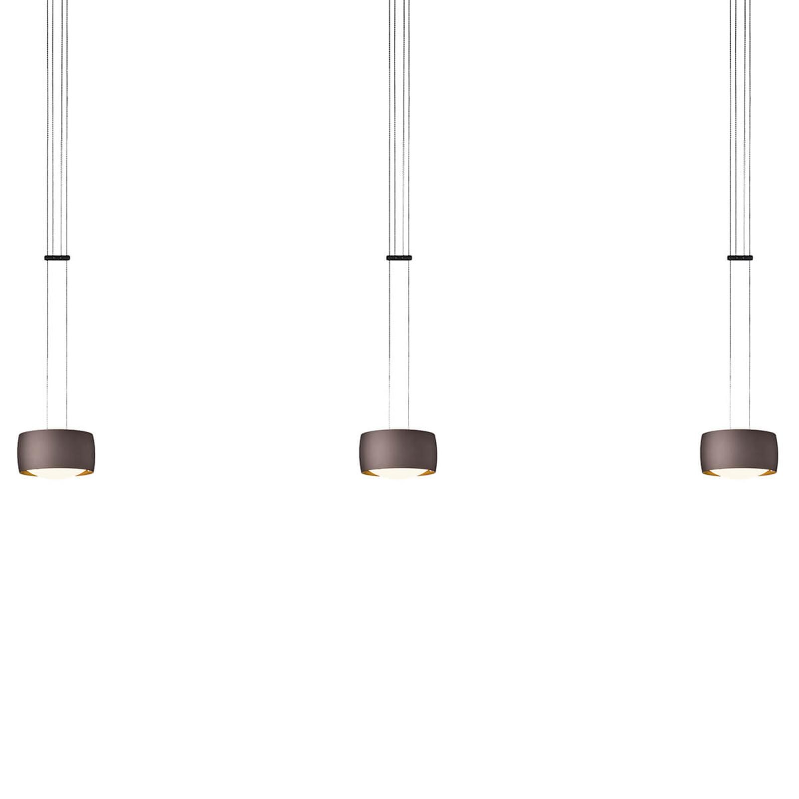 OLIGO Grace LED-riippuvalaisin 3-lamppuinen ruskea