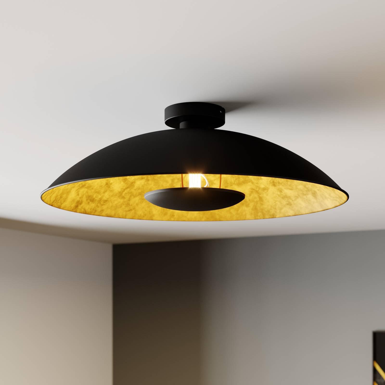 Svart-gylden taklampe Emilienne