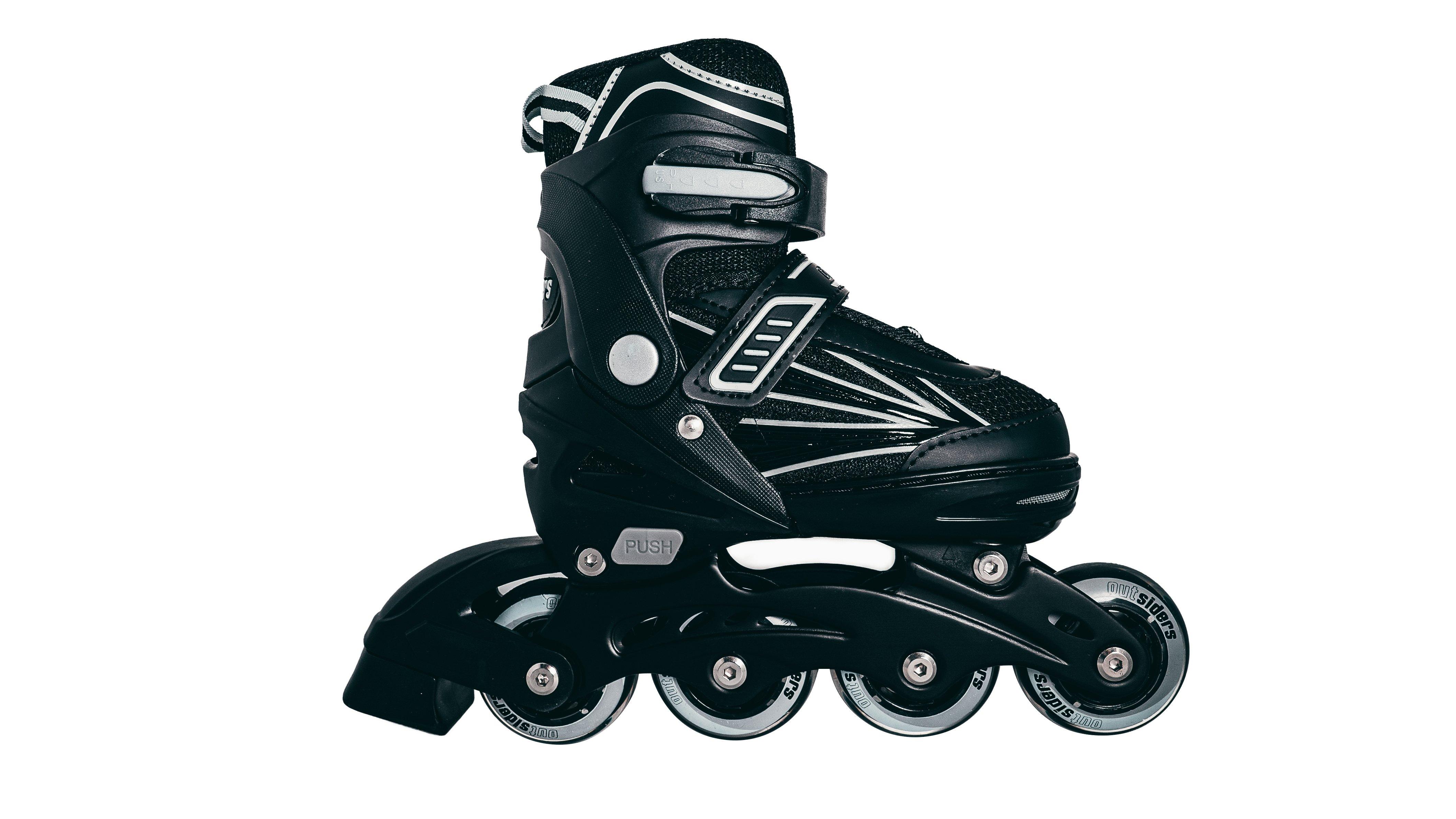 Outsiders - Adjustable Kids Inline Rollerblades - Black/Grey (size: 35-38)