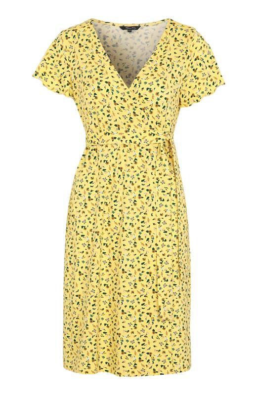Happy Holly Omlottklänning i trikå Amanda Gul Blommig
