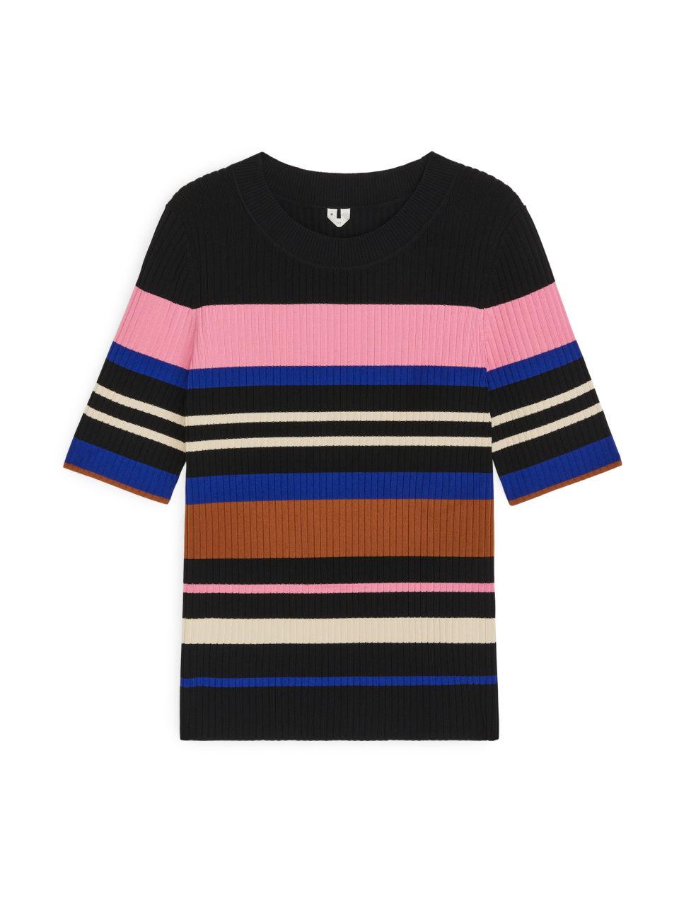 Rib-Knitted Top - Black