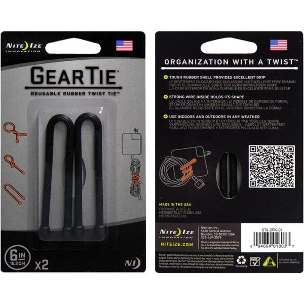 Nite Ize Gear Tie 6 Vaier 2-pakning svart