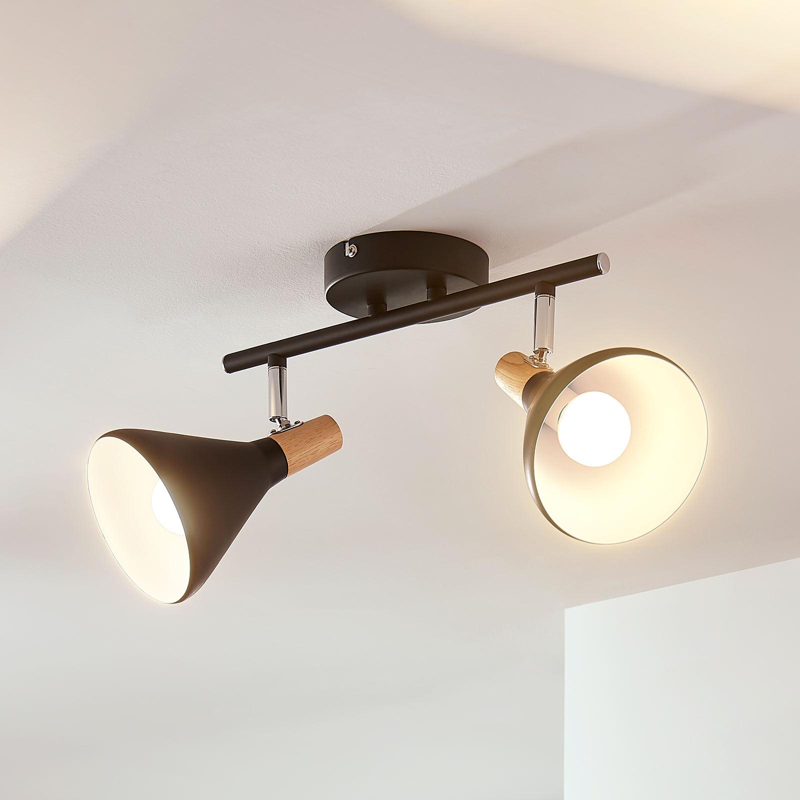 Kaksilamppuinen LED-kattovalaisin Arina, musta