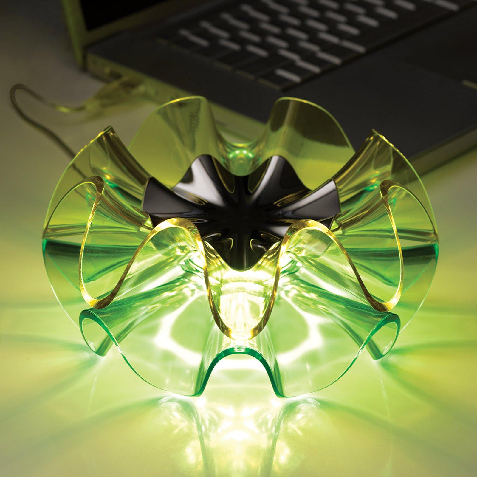 LED-designbordlampe Flamenca i grønn