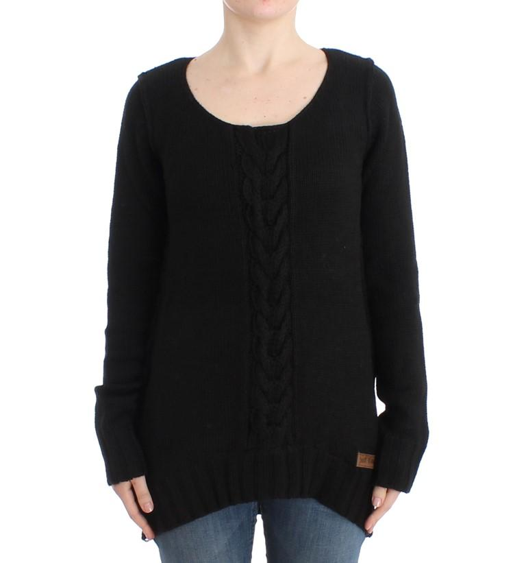 Cavalli Women's Knitted Wool Sweater Black SIG11979 - IT46|XL