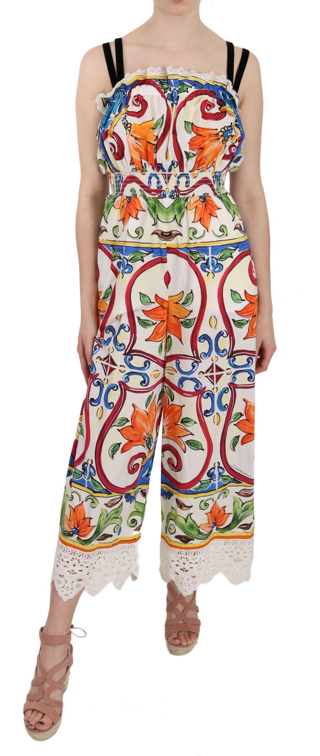 Dolce & Gabbana Women's Majolica Cotton Dress Multicolor DR1674 - IT38 XS