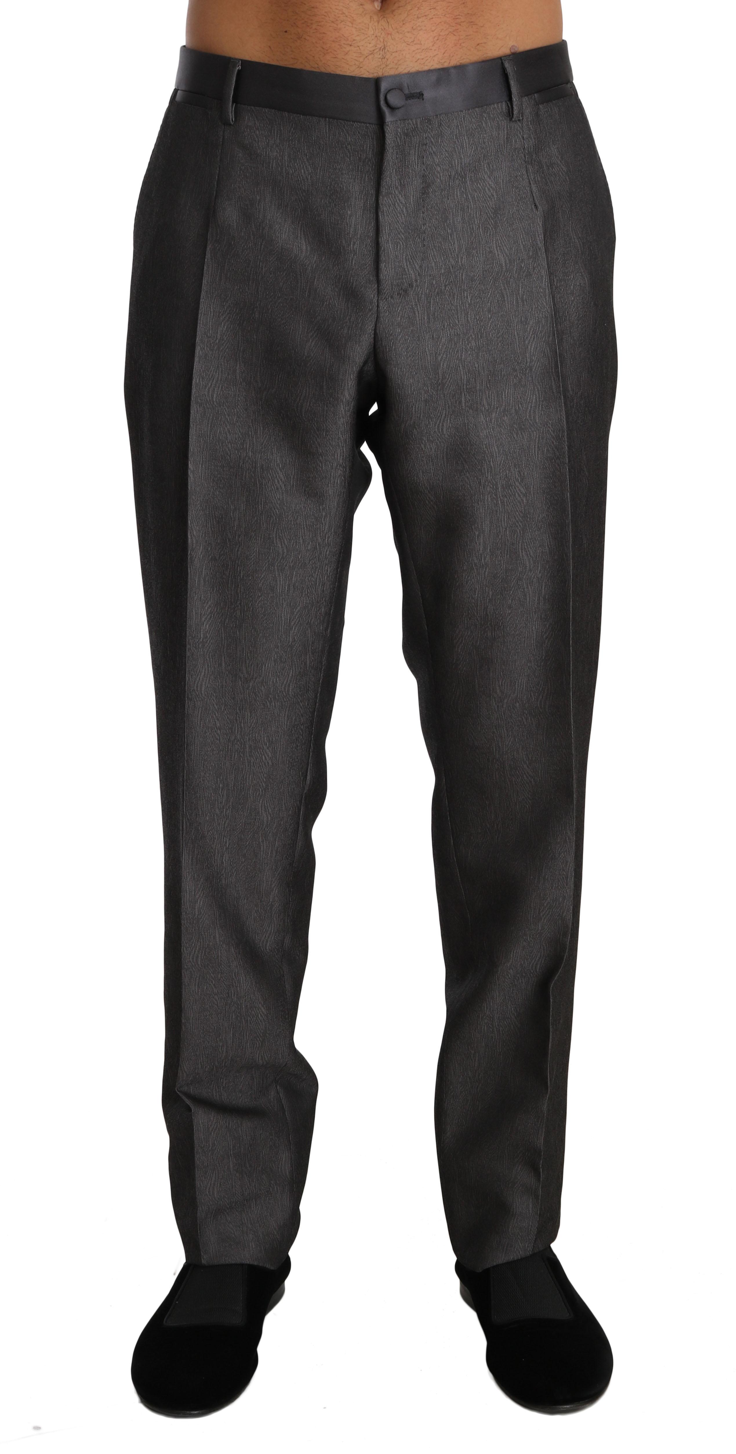 Dolce & Gabbana Men's Wool Silk Patterned Formal Trouser Gray BYX1251 - IT54   XXL