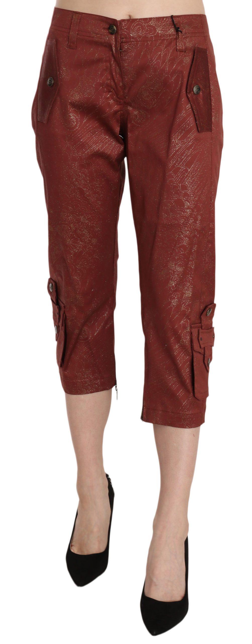 Just Cavalli Women's Cotton Capri Trouser Bordeaux PAN70293 - IT46 XL
