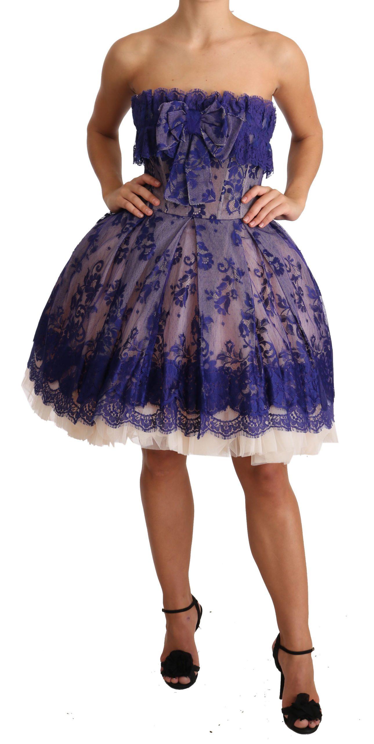 Dolce & Gabbana Women's Lace Ballerina Tulle Strapless Dress Purple DR1919 - IT40|S