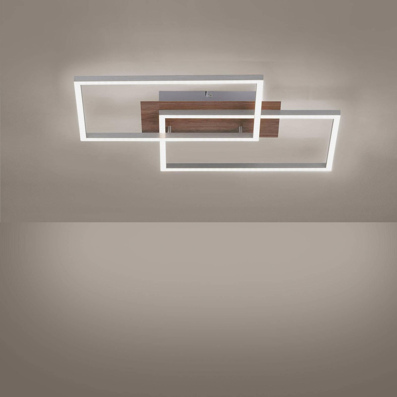 Iven LED-taklampe tre-dekor/stål 2Fl kvadrat