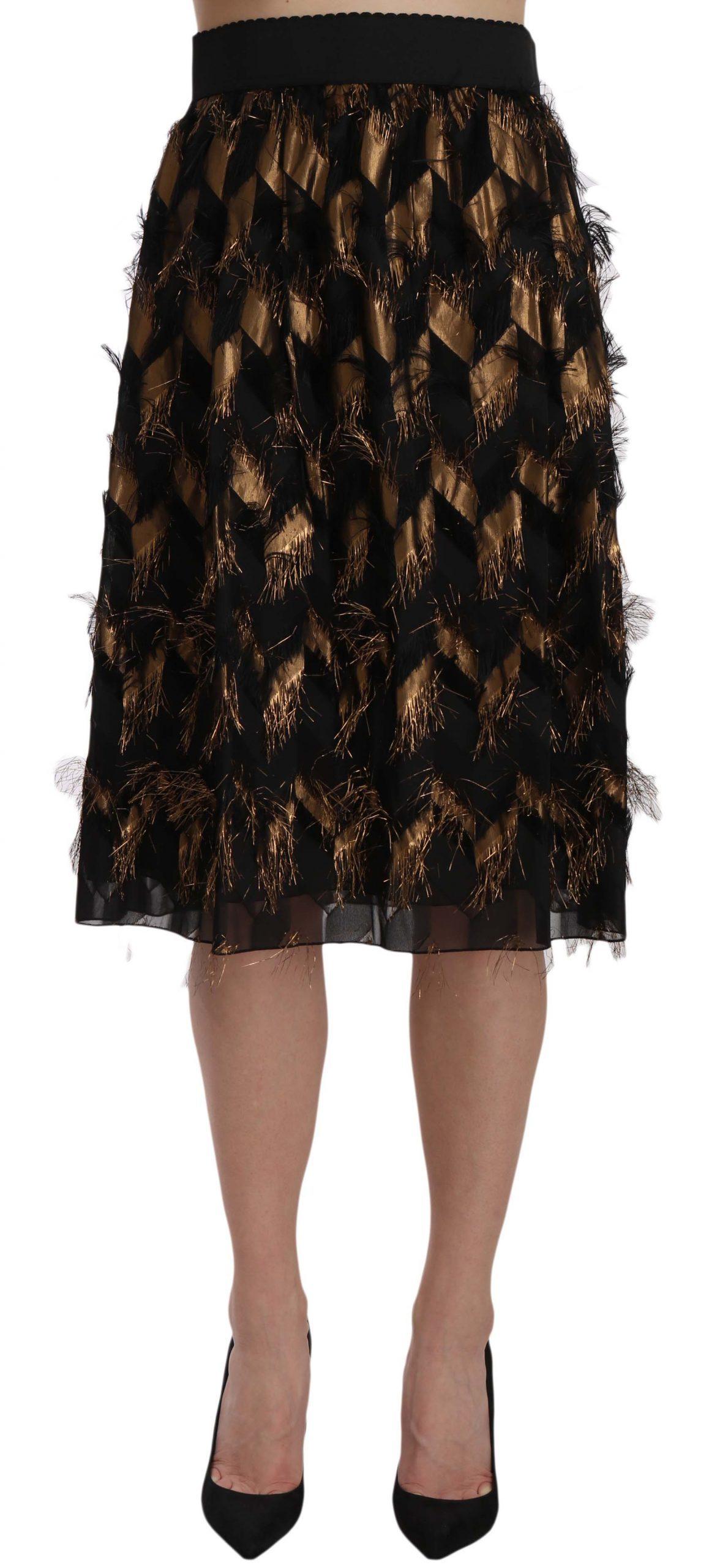 Dolce & Gabbana Women's Fringe Metallic Pencil A-line Skirt Gold Black SKI1177 - IT38|XS