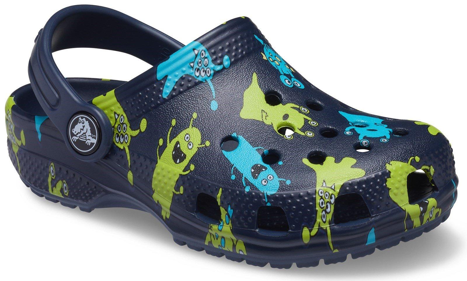 Crocs Kid's Classic Monster Print Clog Sandal Navy 31878 - Navy 4