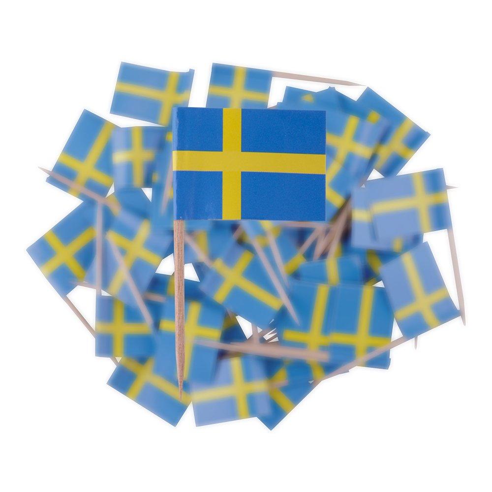 Cocktailflagga Sverige - 50-pack