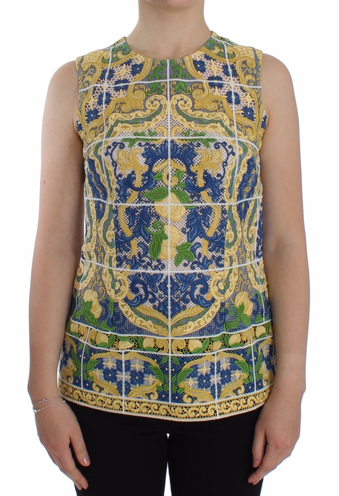 Dolce & Gabbana Women's Majolica Embroidered Sweater Multicolor SIG13199 - IT40|S