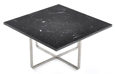 Ninety 60x60 soffbord - Svart marquina/stomme rostfritt stål