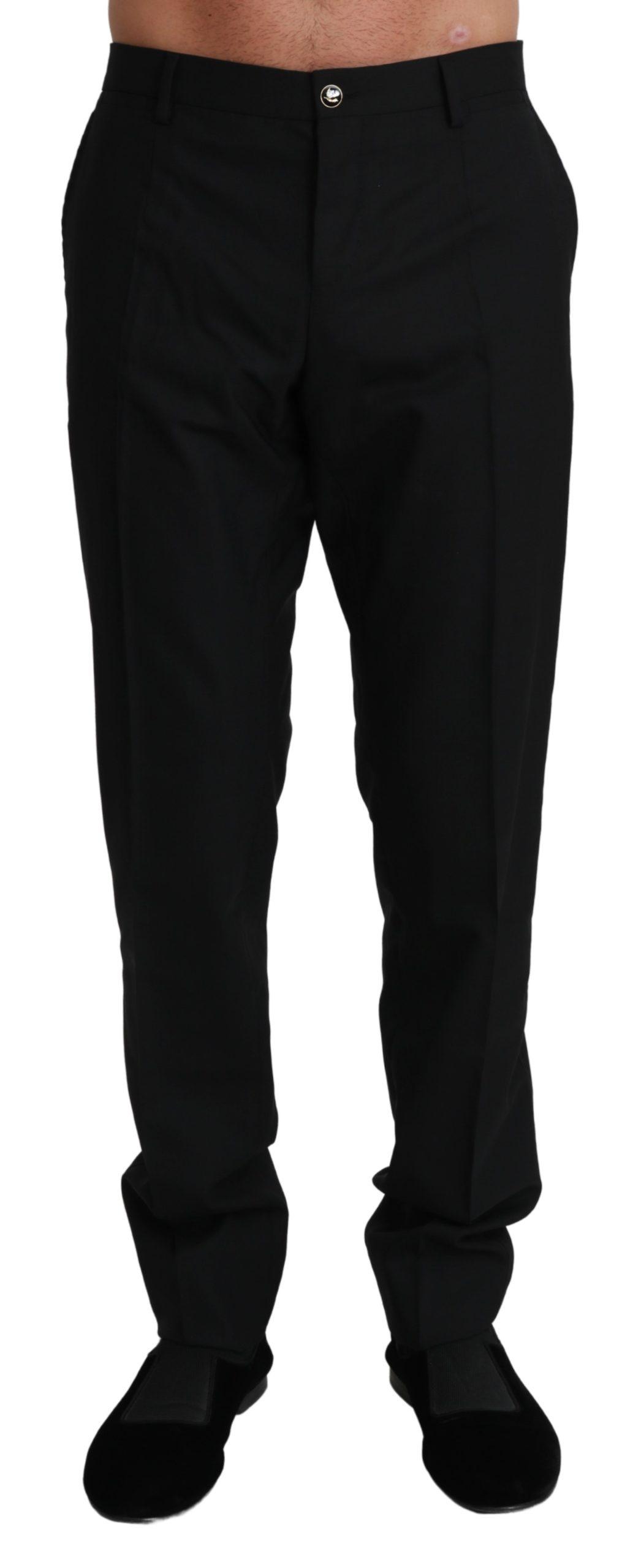 Dolce & Gabbana Men's Formal Dress Virgin Wool Trouser Black PAN71004 - IT50 | L