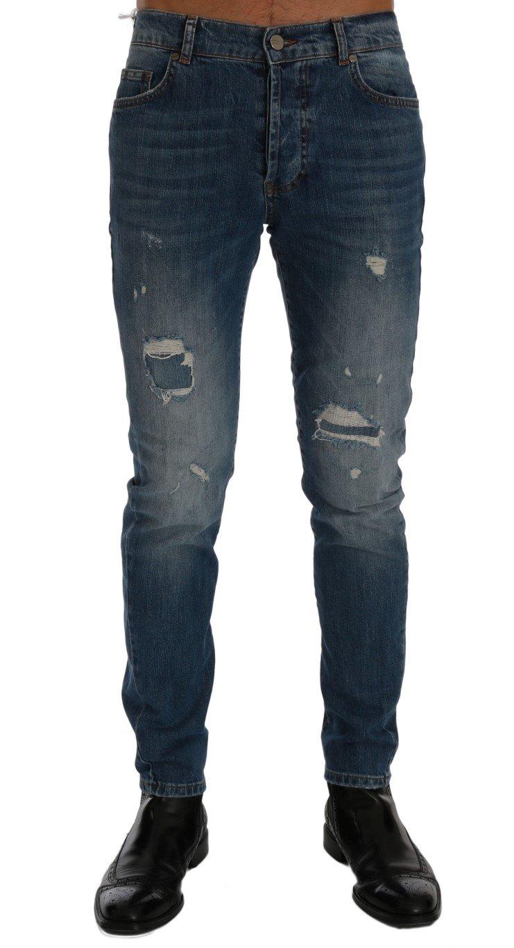 Frankie Morello Women's Torn Dunfermile Slim Fit Jeans Blue SIG60491 - W30