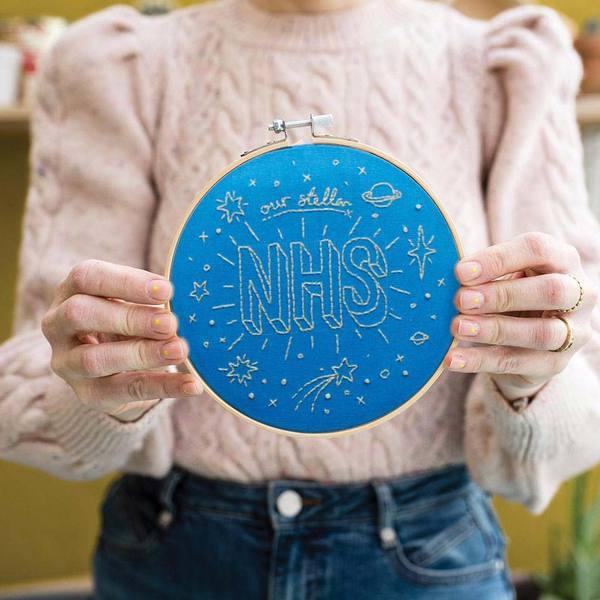 Our Stellar NHS Blue Embroidery Hoop Kit