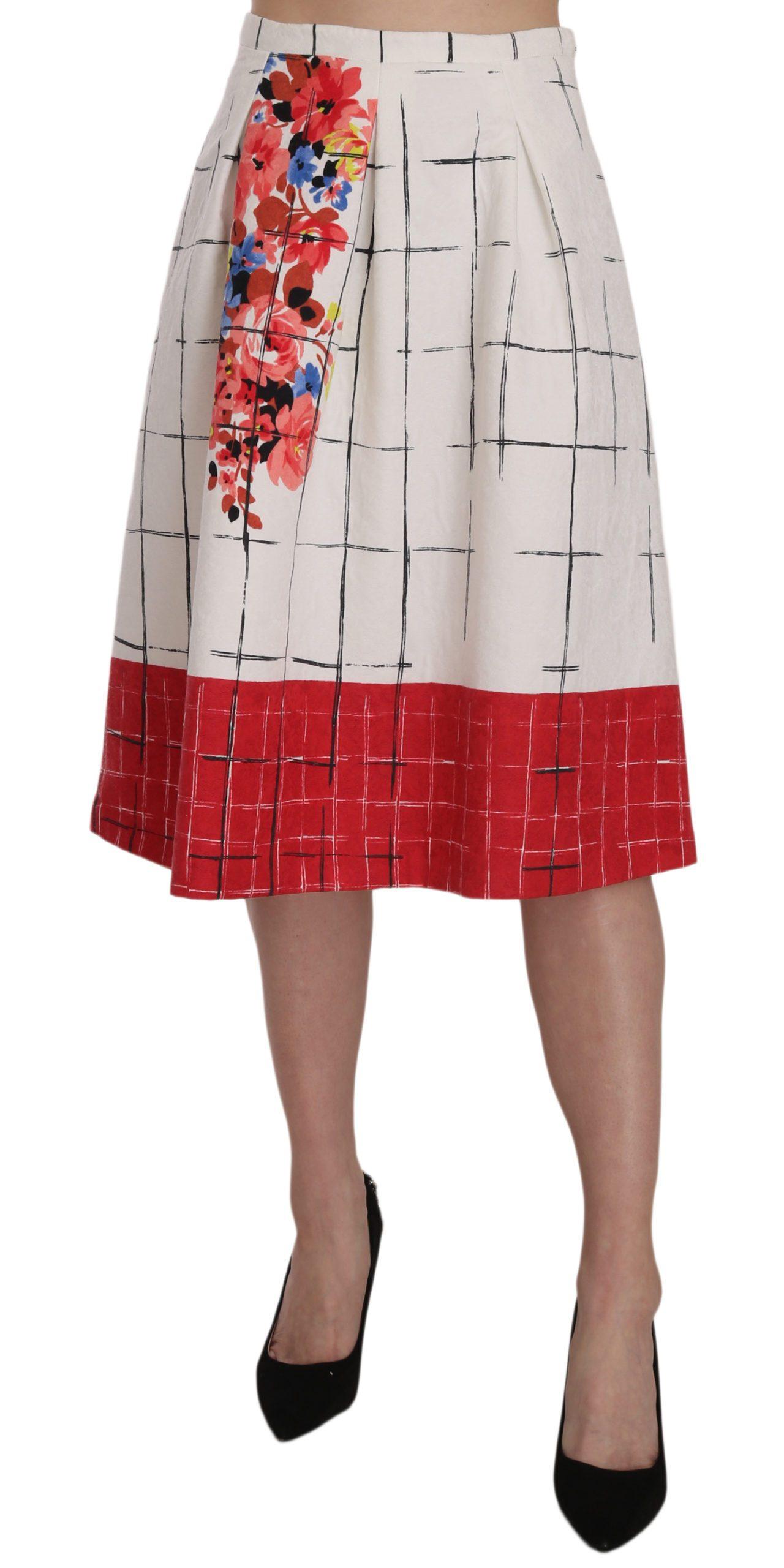 Liu Jo Women's Floral Print Lined Flared Midi Dress White PAN801 - IT42|M