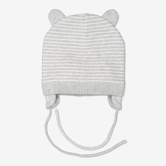 Stripet strikkelue med ører baby hvit