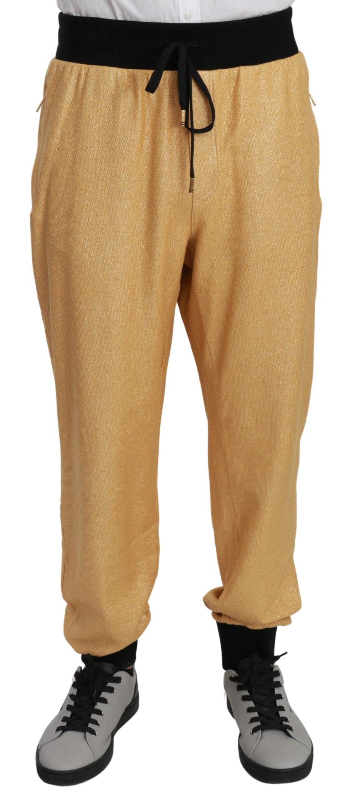 Dolce & Gabbana Men's Year Of The Pig Cotton Trouser Gold PAN70956 - IT56   XXL