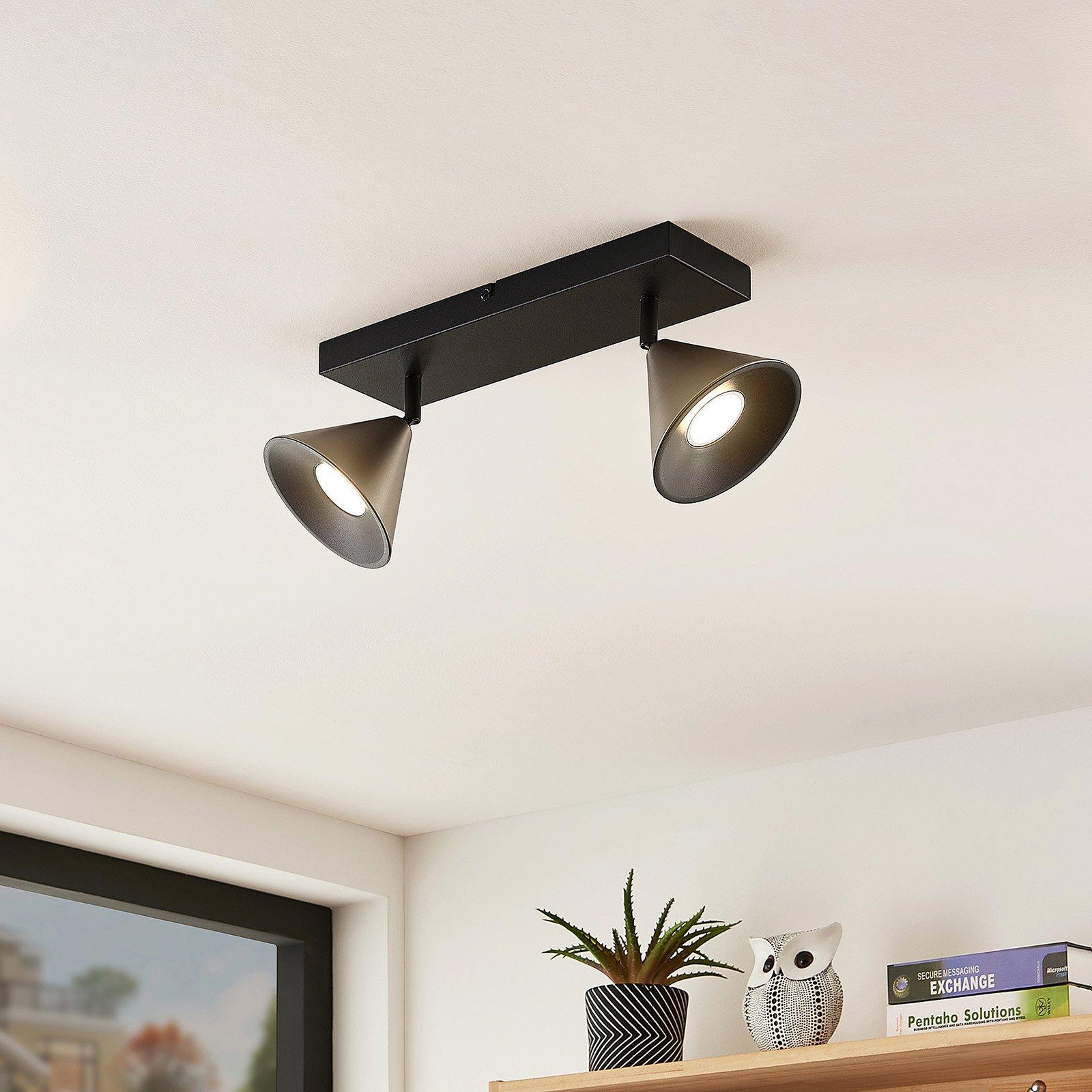 Lucande Kartio taklampe, 2 lys, dreibar, nikkel